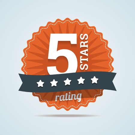 rated: Five stars rating sign in flat style. Illustration