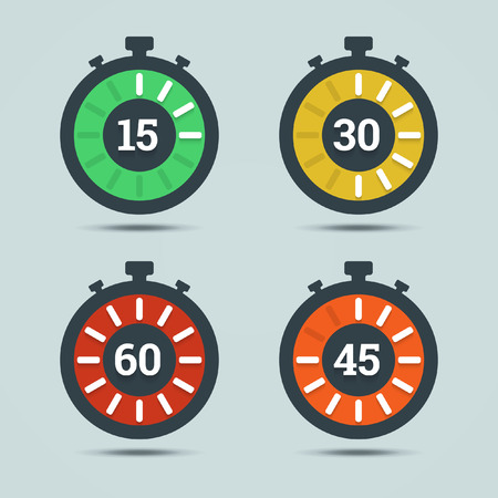 Timer icons with color gradation and numbers in flat style on a light background.