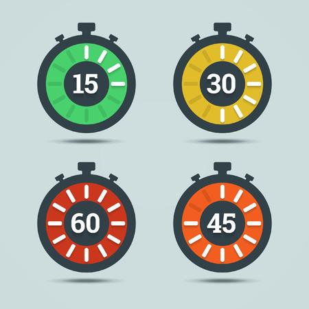 Timer pictogrammen met kleurgradatie en cijfers in vlakke stijl op een lichte achtergrond. Stock Illustratie