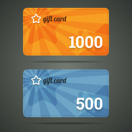 Gift card template with star and number.