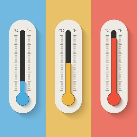Thermometers op gekleurde achtergrond. Stock Illustratie