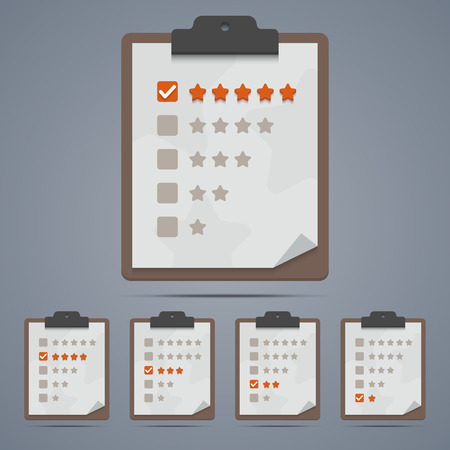 clipboard: Clipboard with rating stars and check boxes.