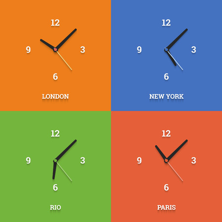 timezone: World time clocks in flat style on color squares.  Illustration