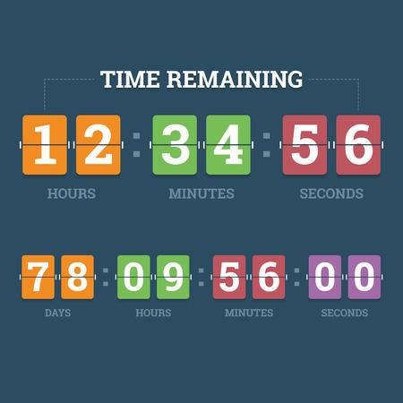 numeros: Cuenta atr�s del reloj mec�nico en Panel de fibra de d�gitos en estilo plano con diferentes colores ilustraci�n vectorial