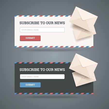 Abonneren op de nieuwsbrief formulier voor het web en mobiele toepassingen in twee platte stijlen met enveloppen Stock Illustratie