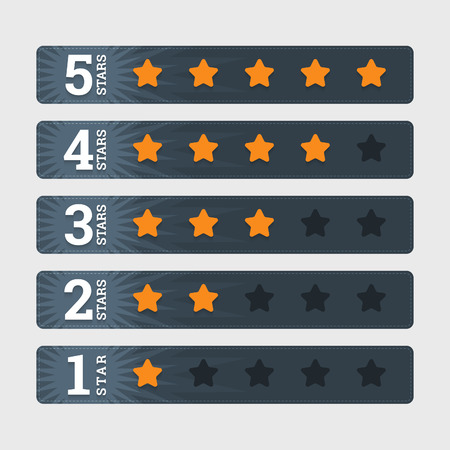 five stars: Star rating banners in flat style