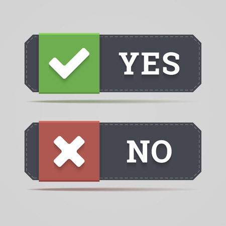 yes or no: Yes and no button with check and cross icons in flat style  Vector illustration