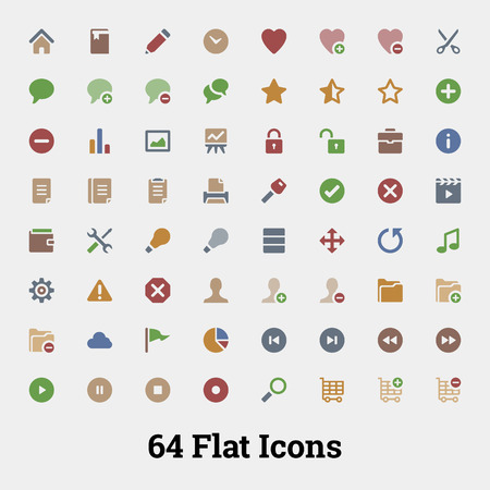 64 Glyph vector icons for web and mobile application