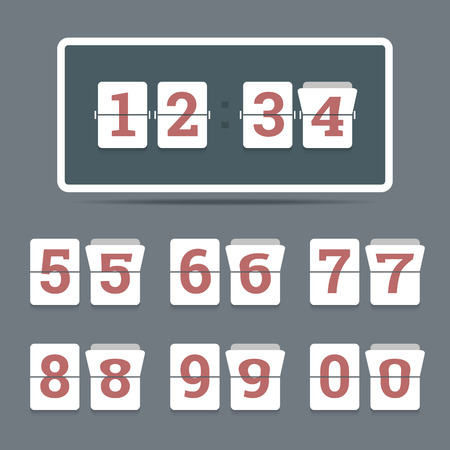 Flip clock in flat style with all flipping numbers Banco de Imagens - 30829479