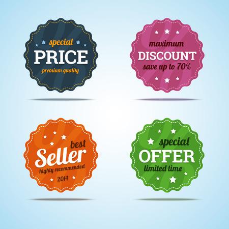 etiqueta: Conjunto especial de insignias premium de venta en estilo plano.