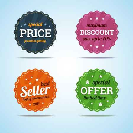 retro label: Special set of premium sale badges in flat style.