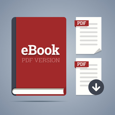 ebook: eBook template with pdf label and pdf page icons with download.  Illustration