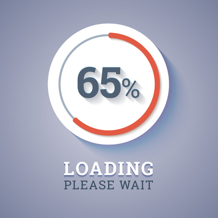pre loader: Round progress bar with percents with text loading please wait.  Illustration