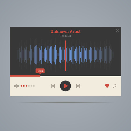 Audio player with equalizer in flat style with icons.