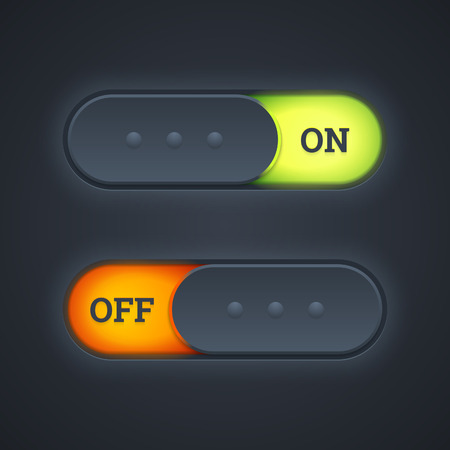 On and off switch toggle buttons with green and red lights. Illustration