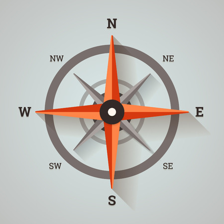 Wind rose compass in flat minimalistic style with long shadows.