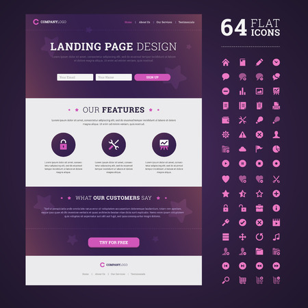 One page design landing page with set of 64 high quality flat icons. Illustration