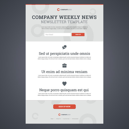 news background: Company news newsletter template with sign up form. Vector illustration.