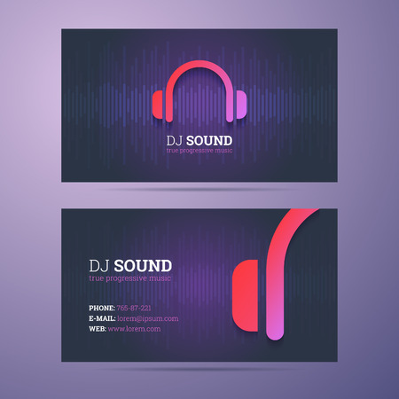 music dj: Business card template for dj and music business with headphones icon.