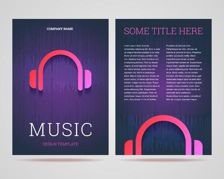 Flyer design template - thema van de muziek met een hoofdtelefoon-pictogram.