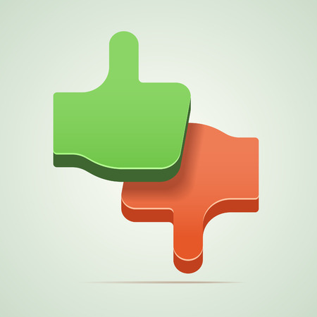 Thumbs up and thumbs down vector illustration. Vector