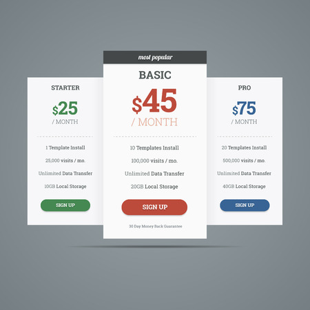 pro: Pricing table with three plans for websites. Vector illustration.