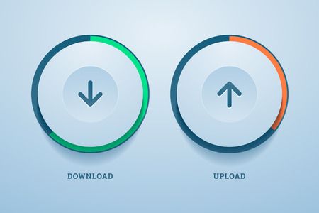 Download and upload buttons with progress bar. Vector illustration in EPS10. Vector