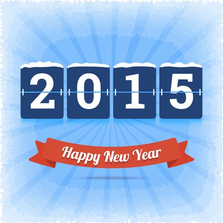board panel: Happy New Year 2015 illustration with digits board panel.