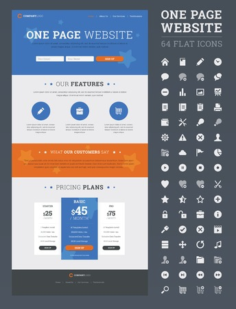 One page website design template with set of flat icons. Vector