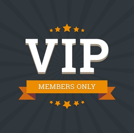 privilege: VIP - members only vector background card template with stars and ribbon. Illustration