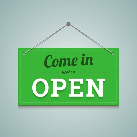 Come in we are open sign in flat style. Vector illustration.