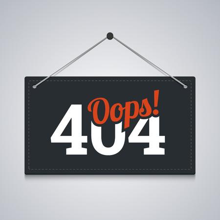 file not found: 404 sign for website server error. Vector illustration.
