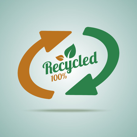 or recycled: Recycled sign for organic products. Vector illustration.