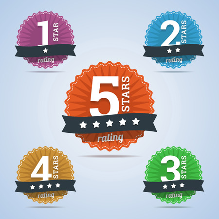 Rating badges from one to five stars. Vector illustration.