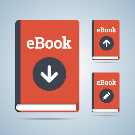 online icon: eBook illustration in download, upload and edit modifications. Vector in EPS10