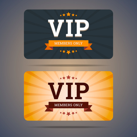 membership: Vip club card design templates in flat style. Vector illustration.