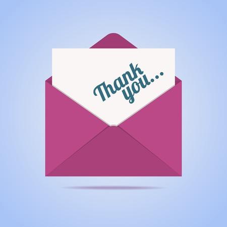 Kleurrijke envelop met dank je brief. Vector illustratie.