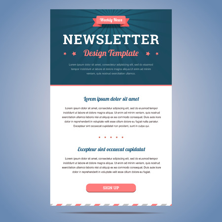 Newsletter design template for weekly company news with header and sign up button. Vector illustration. Vectores