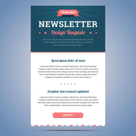 sjabloon: Nieuwsbrief design template voor de wekelijkse bedrijf nieuws met kop en knop aanmelden. Vector illustratie.