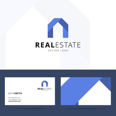 building house: Real estate template logo design biglietto da visita. Vettoriali