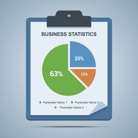 parameter: Business statistics clipboard with pie chart diagram. Vector illustration. Illustration