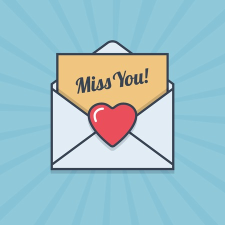 Miss You letter with heart shape in flat style. Vector illustration.