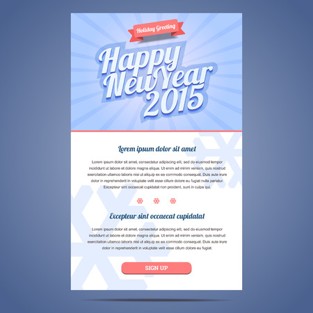 Happy New Year Holiday Greeting email template in flat style. Vector illustration.