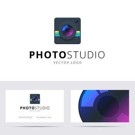 artistic photography: Photo studio icon and business card template. Vector illustration. Illustration