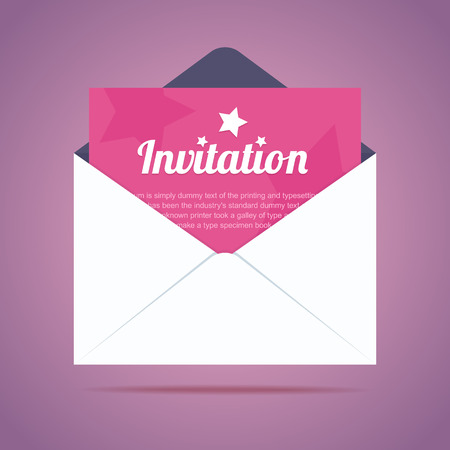 Envelope with invitation card and star shapes. Vector illustration Çizim