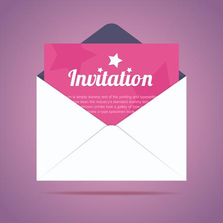tarjeta de invitacion: Sobre con la tarjeta de invitaci�n y estrellas formas. Ilustraci�n vectorial Vectores