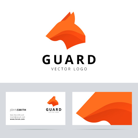 Guard logo template with dog head sign. Vector illustration. Çizim