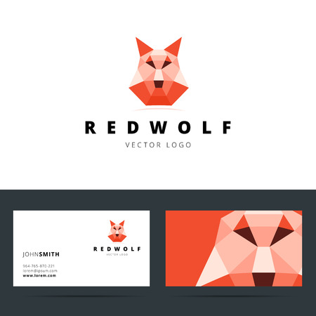 face guard: Triangle polygonal with wolf sign and business card template. Vector illustration.