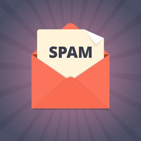 Spam mail illustratie in vlakke stijl. Stock Illustratie