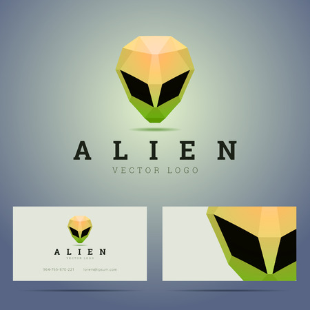 alien face: business card template with polygonal alien head sign.